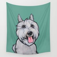 schnauzer Wall Tapestries featuring Levi the Miniature Schnauzer by Pawblo Picasso