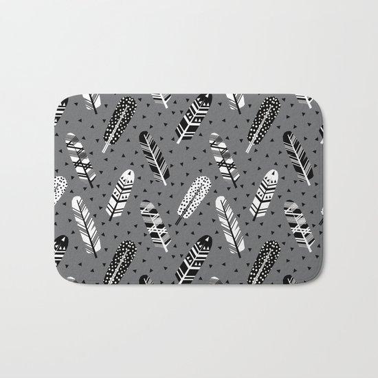 Feather geometric grey charcoal neutral modern pattern print dots geo scandinavian scandi pattern pr Bath Mat