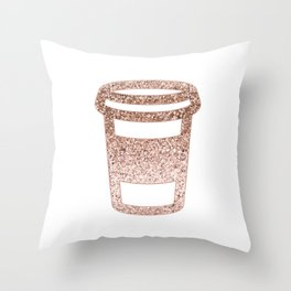 Sparkling rose gold coffee cup Throw Pillow