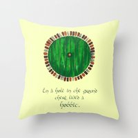 lotr Throw Pillows featuring Bag End by Cat Vickers-Claesens