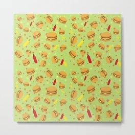 Burger Pattern Metal Print