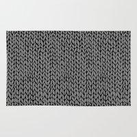 Hand Knit Dark Grey Rug