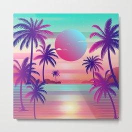 Sunset Palm Trees Vaporwave Aesthetic Metal Print