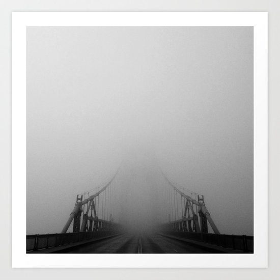 St Johns Bridge in Fog 1, Portland, Oregon Art Print