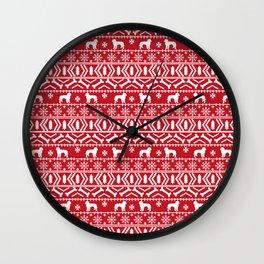 Golden Doodle fair isle christmas pet pattern minimal christmas sweater gifts Wall Clock