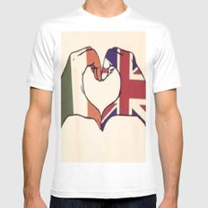 One Direction Inspired UK/Irish Love Heart MEDIUM White Mens Fitted Tee