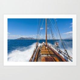 Island Sailboat Santorini Greece Art Print
