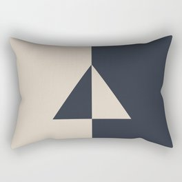 Light Beige and Blue Minimal Triangle Design 2021 Color of the Year Uptown Ecru & Classic Navy Rectangular Pillow