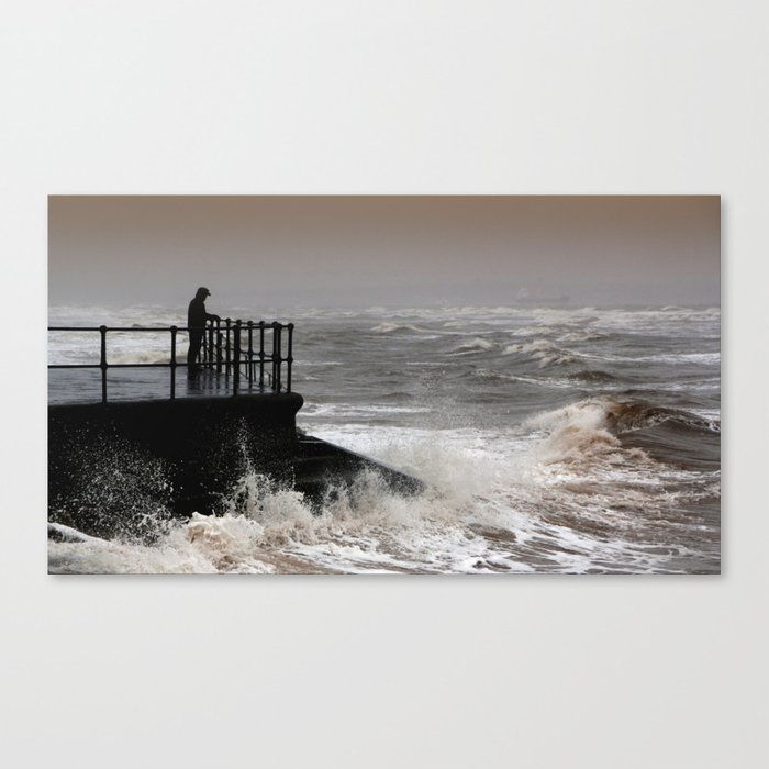 The Solitary Man and the Raging Sea Canvas Print