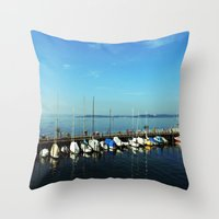 boats Throw Pillows featuring BOATS by Rebecca Jackson