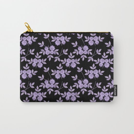 Retro . purple flowers on a black background . Carry-All Pouch