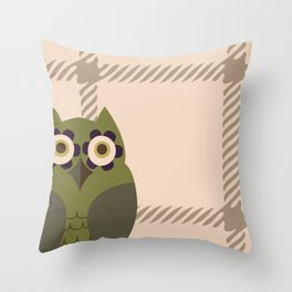 Owls and Tweed Throw Pillow