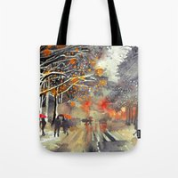 takmaj Tote Bags featuring WINTER IN THE CITY by takmaj
