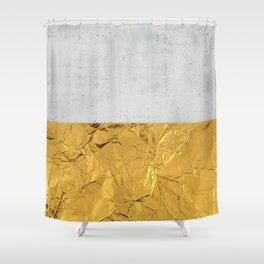 Gold Foil and Concrete Shower Curtain