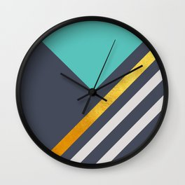 Mint Triangle On Grey With White And Gold Stripes Wall Clock