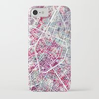 brussels iPhone & iPod Cases featuring Brussels Map by MapMapMaps.Watercolors