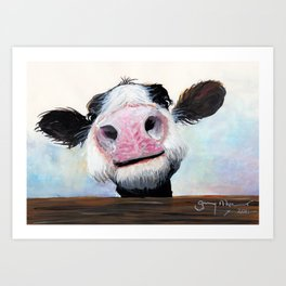 Nosey Cow ' HEY! HOW'S IT GOIN'? ' by Shirley MacArthur Art Print