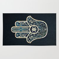 hamsa Area & Throw Rugs featuring Hamsa 2 by Klara Acel
