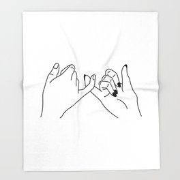 Hand drawn pinky promise Throw Blanket