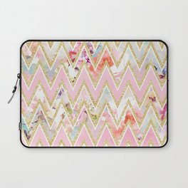 Pastel watercolor floral pink gold chevron pattern Laptop Sleeve