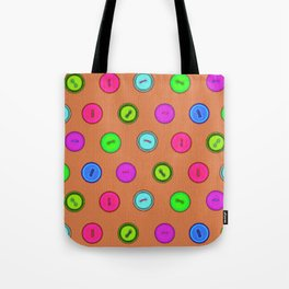 Stylish hand drawn colorful vintage buttons pattern on terracotta color Tote Bag