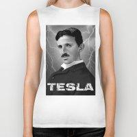 tesla Biker Tanks featuring Nikola Tesla by San Fernandez