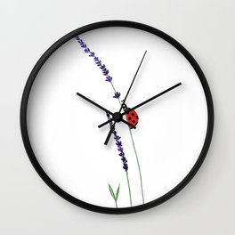 red ladybug and purple lavender Wall Clock