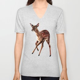 Baby fallow deer fawn ink and watercolour painting Unisex V-Neck