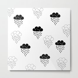 Cute clouds balck and white Metal Print