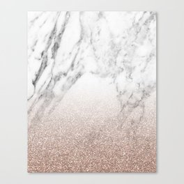 Marble sparkle rose gold Canvas Print