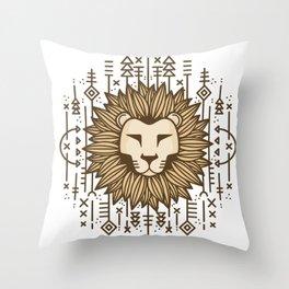 Lion Tribal Throw Pillow