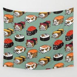 Sushi English Bulldog Wall Tapestry