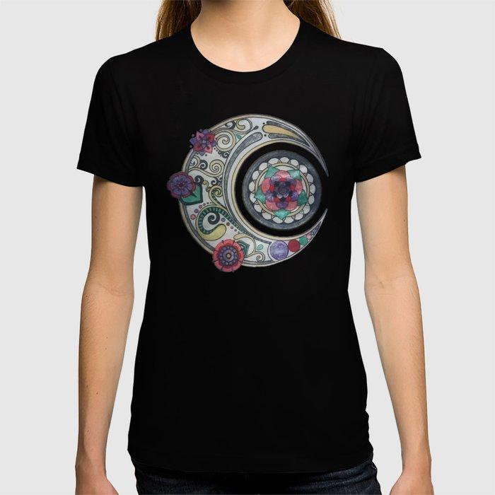 Spiral floral moon T-shirt