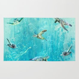 Swimming Turtles Rug