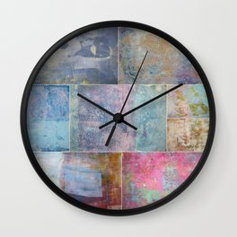 Collage monoprints Wall Clock