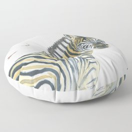 Zebra and Birds Floor Pillow