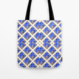 ABSTRACTED BLUE & GOLD PATTERN  CALLA LILIES  DESIGN Tote Bag