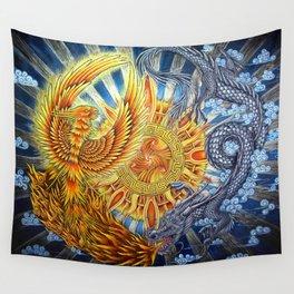 Chinese Phoenix and Dragon Mandala Wall Tapestry