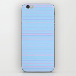 Sky Blue & Light Pink Candy Lines iPhone Skin