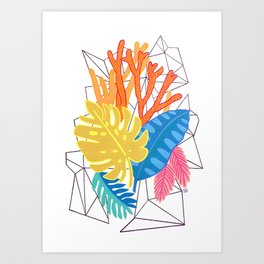 Leaves and corals Art Print