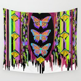 Butterfly Garden Western Style Black Fringed Shawl Wall Tapestry