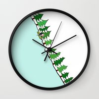 ski Wall Clocks featuring Ski Penguin by Jiwon Kim