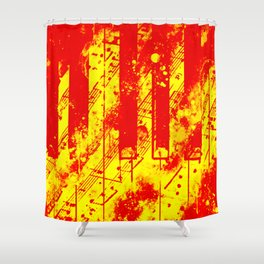 piano keys and music sheet pattern wsry Shower Curtain