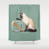 ashton irwin Shower Curtains featuring Goldfish need friend by Tummeow
