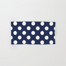 Space cadet - blue - White Polka Dots - Pois Pattern Hand & Bath Towel