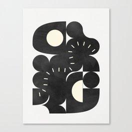 minimal black white shapes mid century Canvas Print