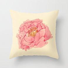 Vintage Peony Throw Pillow