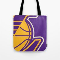 lakers Tote Bags featuring Lakers by racPOP