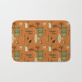 Orange Retro Hawaiian Tiki Hawaii Beach Bath Mat