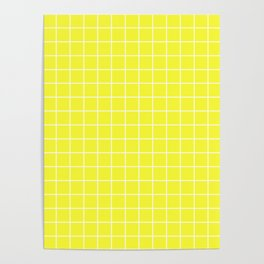 Maximum yellow - yellow color - White Lines Grid Pattern Poster